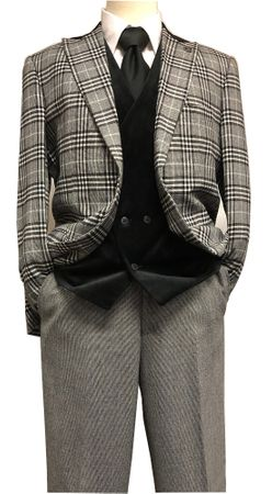 Stacy Adams Black White Plaid Jacket Velvet Vest Suit Roy 8132-700 IS
