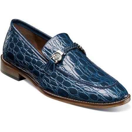 Stacy Adams Mens Blue Crocodile Belly Loafer 25322-400 IS
