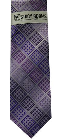 Stacy Adams Purple Plaid Woven Neck Tie and Hanky Set