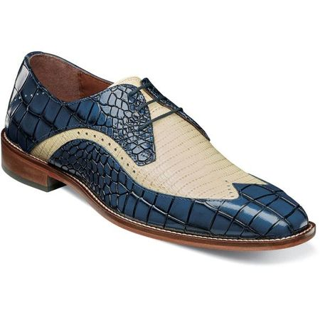 Stacy Adams Blue Tan Alligator Print Wingtip Spring 25271-460