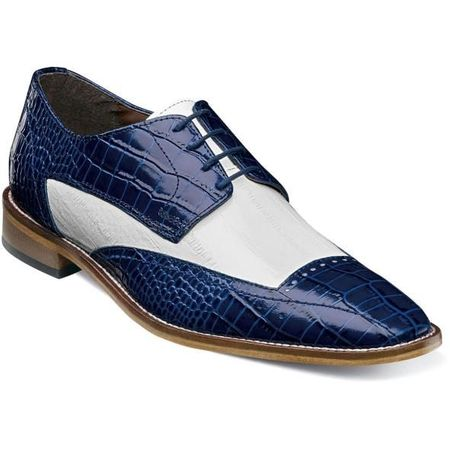 Stacy Adams Shoes Blue White Alligator Print Wingtip 25366-469 IS
