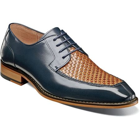Stacy Adams Blue Tan Woven Top Leather Dress Shoes 25242-492