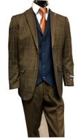 Stacy Adams Brown Blue Plaid Jacket Blue Vest Suit Town 8136-768 IS