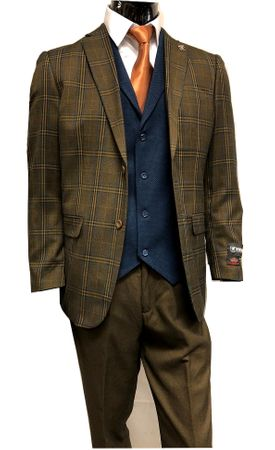 Stacy Adams 1920s Brown Blue Plaid Suit Blue Vest Town 8136-768 IS - click to enlarge
