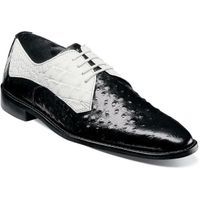 Stacy Adams White Black Leather Mens Shoes Ostrich Print 25273-111