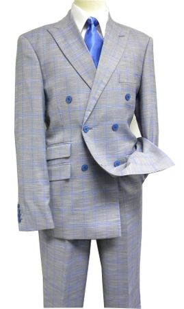 Martini Men's Blue Plaid 1940s Double Breasted Suit 5750-752 Size 44L
