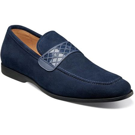 Stacy Adams Casual Blue Suede Loafer Strap 25276-415