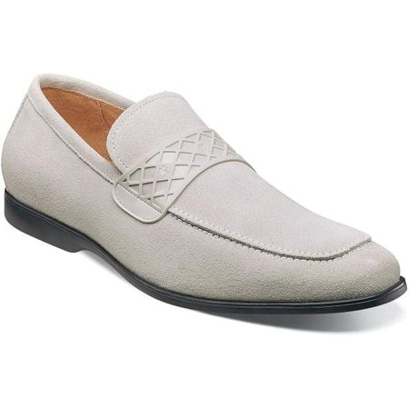 Stacy Adams Casual Off White Suede Loafer Strap 25276-124
