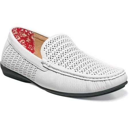 Stacy Adams Casual Slip On Shoes White Cicero 25172-100 IS - click to enlarge
