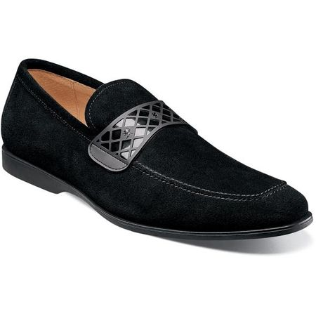 Stacy Adams Casual Suede Loafer Mens Black Strap 25276-008