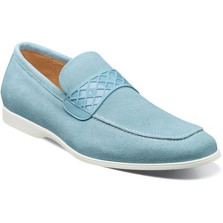 Stacy Adams Casual Suede Loafer Mens Light Blue Strap 25276-493