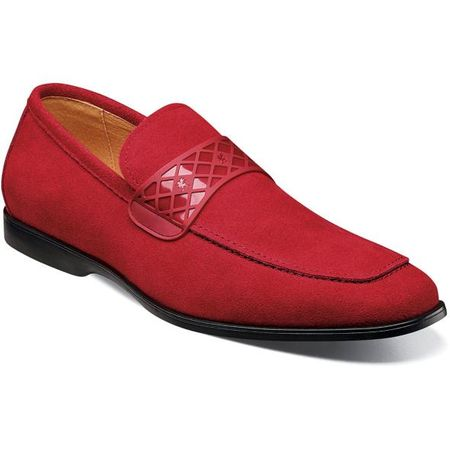 Stacy Adams Casual Suede Loafer Mens Red Strap 25276-644