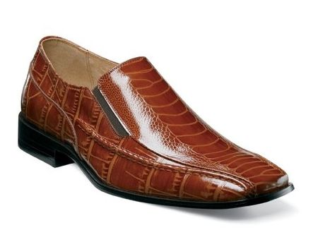 Stacy Adams Mens Cognac Crocodile Print Loafers Teague 24599-221 IS