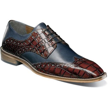Stacy Adams Cognac Navy Gator Print Wingtip 25212-470 OS