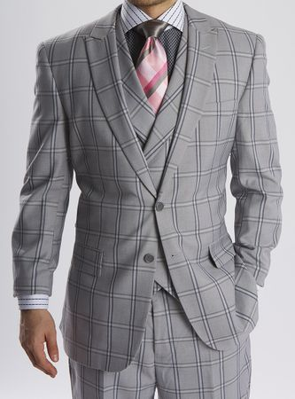 Steven Land Gray Plaid DB Vested 3 Piece Suit Walter SL77-202 IS - click to enlarge