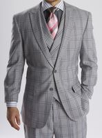 Steven Land Gray Plaid DB Vested 3 Piece Suit Walter SL77-202 IS