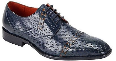 Steven Land Blue Tan Woven Leather Dress Shoes SL0013 - click to enlarge