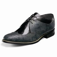 Stacy Adams Dayton Black Gray Snake Print Wingtip Shoes 00621-975