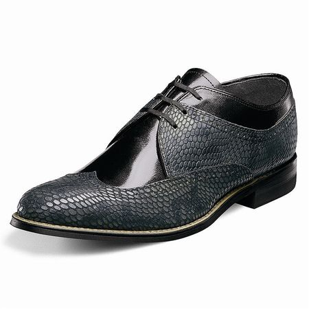Stacy Adams Dayton Black Gray Snake Print Wingtip Shoes 00621-975 IS
