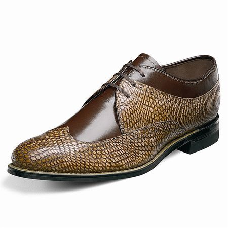 Stacy Adams Dayton Brown Tan Snake Print Wingtip Shoes 00621-249 OS - click to enlarge