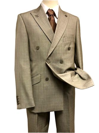 Stacy Adams Double Breasted Suit Men's Taupe Flat Front Duece 5540-048 Size 42L