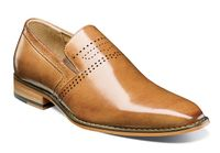 Stacy Adams Dress Shoes Mens Tan Leather Plain Toe Slip On 25157-240