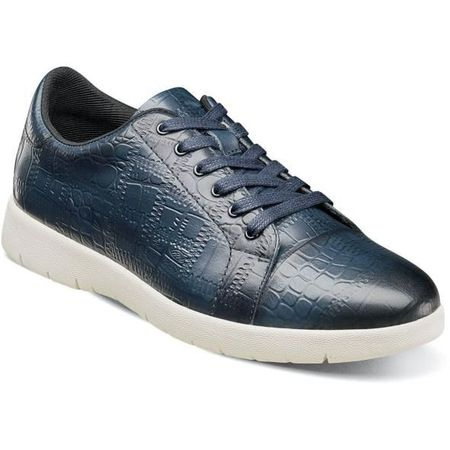 Stacy Adams Gator Texture Blue Leather Sneaker 25295-401 - click to enlarge