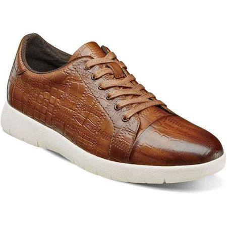 Stacy Adams Gator Texture Cognac Leather Sneaker 25295-221 - click to enlarge