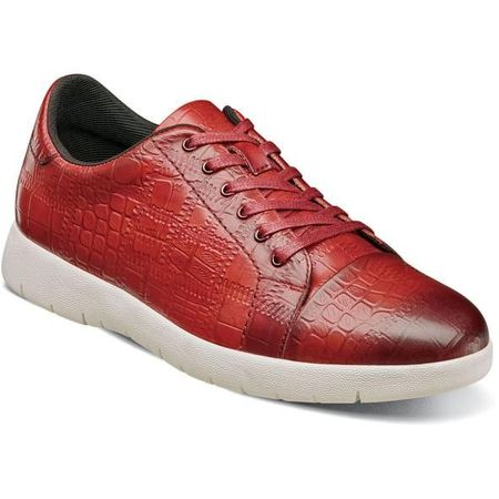 Stacy Adams Gator Texture Red Leather Sneaker 25295-608