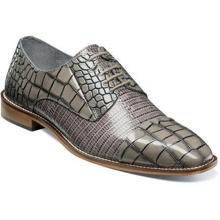 Stacy Adams Shoes Gray Alligator Texture Cap Toe 25321-020 IS