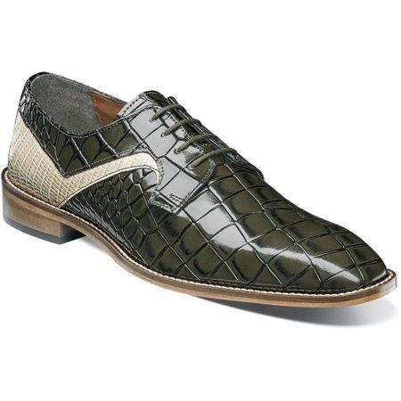 Stacy Adams Olive Green Alligator Texture Dress Shoes 25211-302 OS