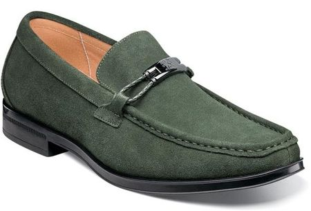 Stacy Adams Green Suede Loafers Moc Toe Neville 25224-301