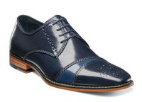 Stacy Adams Leather Shoes Blue Fancy Cap Toe Talbot 25125-492