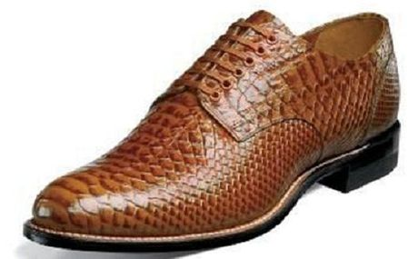 Stacy Adams Madison Original Mens Tan Anaconda Pattern Shoes 00055-240 Size 7.5 & 10.5 Final Sale - click to enlarge