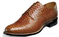 Stacy Adams Madison Original Mens Tan Anaconda Pattern Shoes 00055-240 Size 7.5 & 10.5 Final Sale