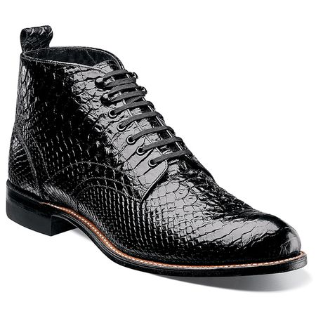 Stacy Adams Old School Madison Mens Black Anaconda Design Boots 00057-001 - click to enlarge