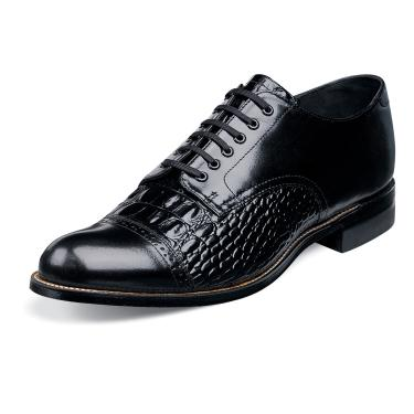 Stacy Adams Madison Mens Black Croc Print Leather Shoes 00034-001