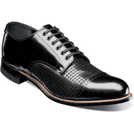 Stacy Adams Madison Shoes Black Texture Oxford 00905-001