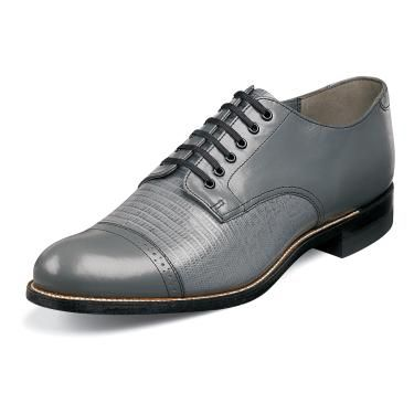 Stacy Adams Madison Mens 1920s Grey Lizard Look Leather Shoes 00049-10