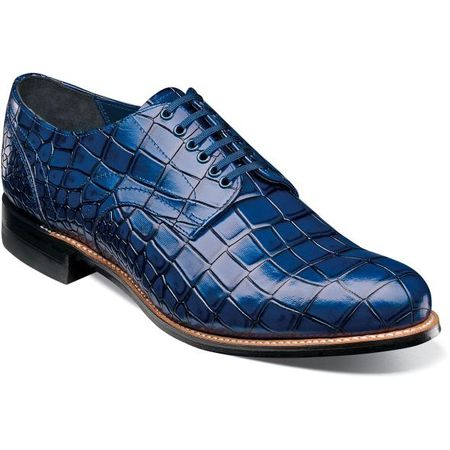 Stacy Adams Madison Shoes Blue Crocodile Texture Leather 00104-400