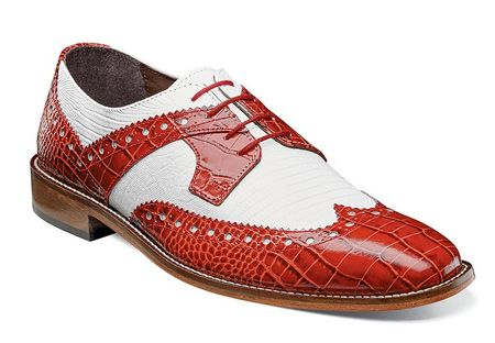 Stacy Adams Red White Crocodile Texture Dress Shoes 25167-120