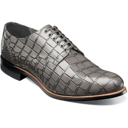 Stacy Adams Madison Shoes Gray Crocodile Texture Leather 00104-020