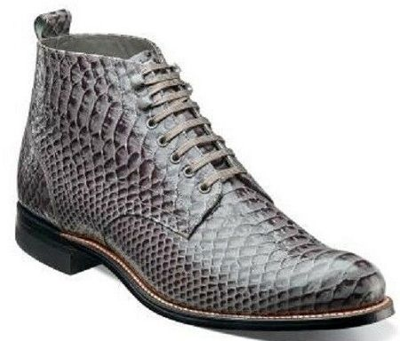 Stacy Adams Madison Mens Gray Anaconda Print Boots 00057-011 Size 9  Final Sale