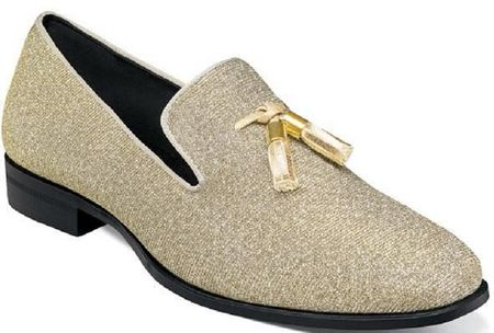 Prom Shoes Gold Glitter Tassel Loafer Stacy Adams 25327-710 Size 12 Final Sale