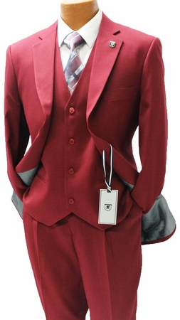 Stacy Adams Mens Burgundy 1920s Retro Style 3 Piece Suits Suny 4016-095 OS - click to enlarge