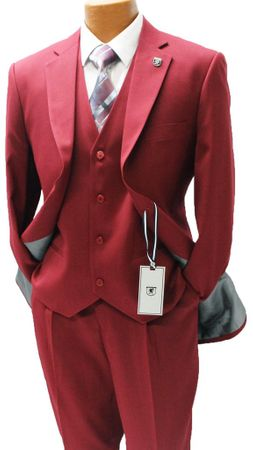 Stacy Adams Mens Burgundy 1920s Retro Style 3 Piece Suits Suny 4016-095 OS