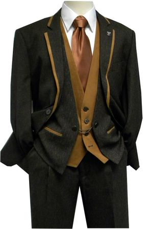 Stacy Adams Lamar Vested 4 Piece Microsuede Trim Fashion Suit 5076-045 IS - click to enlarge