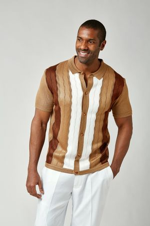 Stacy Adams Mens Knitted Shirt Beige Brown White 1960s Casual 1214