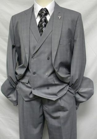 Stacy Adams Mens Grey Plaid Mash DB Vest 3 Piece Suit 5228-001 IS - click to enlarge
