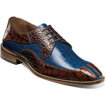 Stacy Adams Shoes Cognac Blue Alligator Split Toe 25318-229